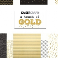 KIT C/ 6 PAPEIS SCRAPBOOK 12X12 - A TOUCH OF GOLD - KAISER CRAFT