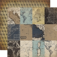 CARTA BELLA PAPER - OLD WORLD TRAVEL COLLECTION - DOUBLE SIDED PAPER - JOURNALING CARDS