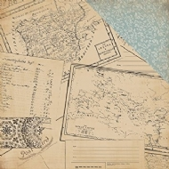 CARTA BELLA PAPER - OLD WORLD TRAVEL COLLECTION - DOUBLE SIDED PAPER â POSTCARDS