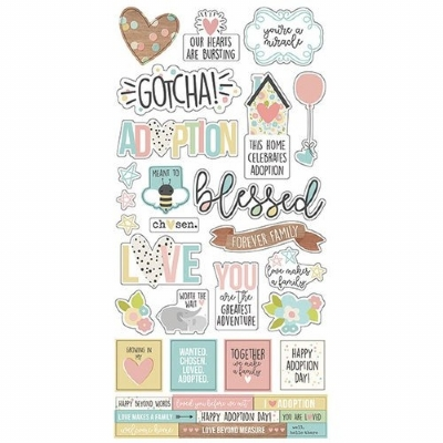 SIMPLE STORIES - OH BABY - ADOPTION STICKERS