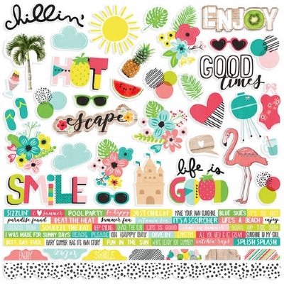 SIMPLE STORIES - HELLO SUMMER - STICKERS