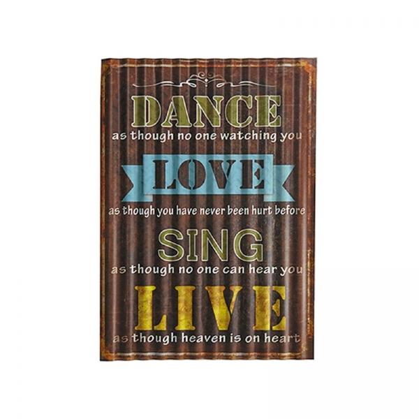 PLACA DECORATIVA DANCE, LOVE, SING, LIVE